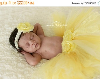 ON SALE Newborn Tutu- Yellow Tutu Skirt- Baby Tutu- Infant Tutu- Newborn Tutu and Headband Set - Newborn Photo Prop Tutu- Baby Tutu
