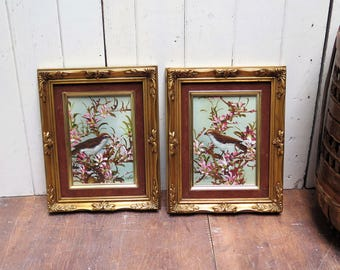 Pair (2) Framed Bird in flowering tree paintings - beautiful Barque framed oil paintings