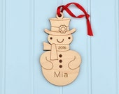 Snowman Ornament: Classic Wooden Snowman Boy or Girl with Personalized Name 2016, Baby's First Christmas