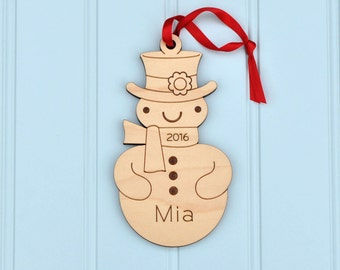 Snowman Ornament: Classic Wooden Snowman Boy or Girl with Personalized Name 2017, Baby's First Christmas