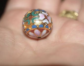 ONE Large Vintage Chinese Enamel Cloisonne Gold Bead Flowers 18mm 1