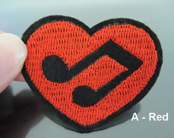 Musical Note Patches - Iron on Patches or Sewing on Patch Red or Pink Black Heart Love Music Clef Patches Embroidered Patch Embellishment