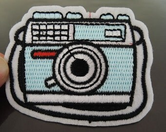Iron on Patch - Camera Patch Light Blue Carmera Iron on Applique Embroidered Patch Sewing Patch