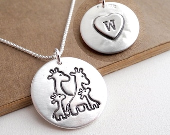 Personalized Giraffe Family Necklace, Mom, Dad, Two Babies, Two Children, Heart Monogram, Fine Silver, Sterling Silver Chain, Made To Order