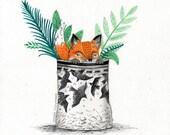 Fox Pot  // Signed A4 print