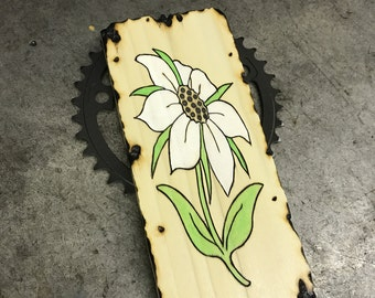 White Flower Sodalite Inlay Wooden Board Burned Bicycle Sprocket