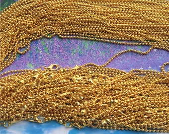 20pcs 20 inch 2mm gold plated ball necklace chains with lobster clasps
