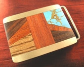 Gifts for Men - Wood Turquoise Belt Buckle Mens Gift for Him - Mens Accessories for Him BB111T