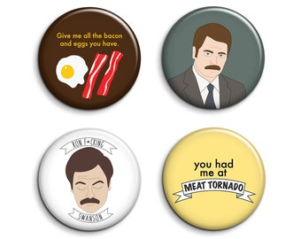 Ron Swanson Badges - 4 Parks and Recreation Pinback Buttons or Magnets