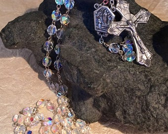 Lourdes Rosary with Aura Borealis beads and Silver tone Cross