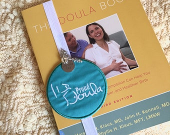 Doula book Beautiful embroidered patch elastic bookmark with beautiful coordinating charms