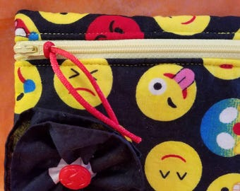 Small zippered emoji pouch coin purse wallet
