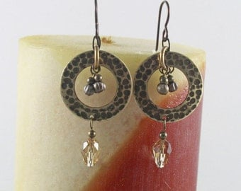 Earrings Antique Brass Circle and Swarovski Crystal Drops with Accent Metal Beads