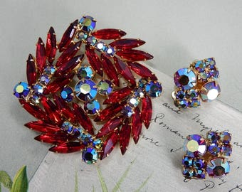JULIANA Pink Red Navette Rhinestone Pinwheel Brooch & Clip Earrings    OAH51