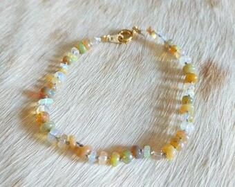 Opal and Silk Bracelet - opal bracelet - opal bead bracelet - unique bracelet - Mother's Day gift - handmade bracelet - gemstone bracelet