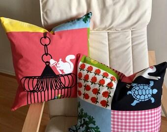 2 patchwork graphic bird rabbit printed cotton Cushions