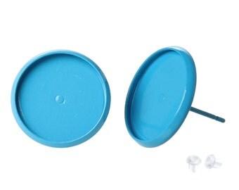 SALE - 10 pcs. Light Blue Earring Posts Studs Settings Bezels Cabochons Tacks- 14mm Glue Pad Setting