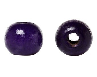 200 pcs Purple Violet Wooden Wood Round Spacer Beads - 10x9mm