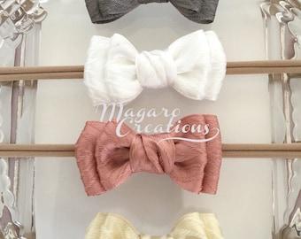 Baby headband,bow headband,baby girl headband,infant headband,baby bow headband,bow tie headband,newborn headband,nylon headband.