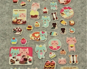 Mixed Sweet Puffy Happy Cat Stickers