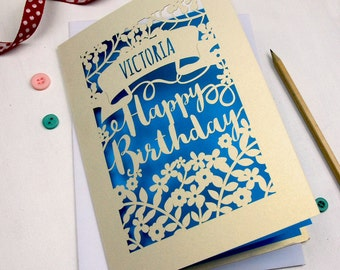 Personalised Papercut Calligraphy Birthday Card, sku_happy_birthday_script
