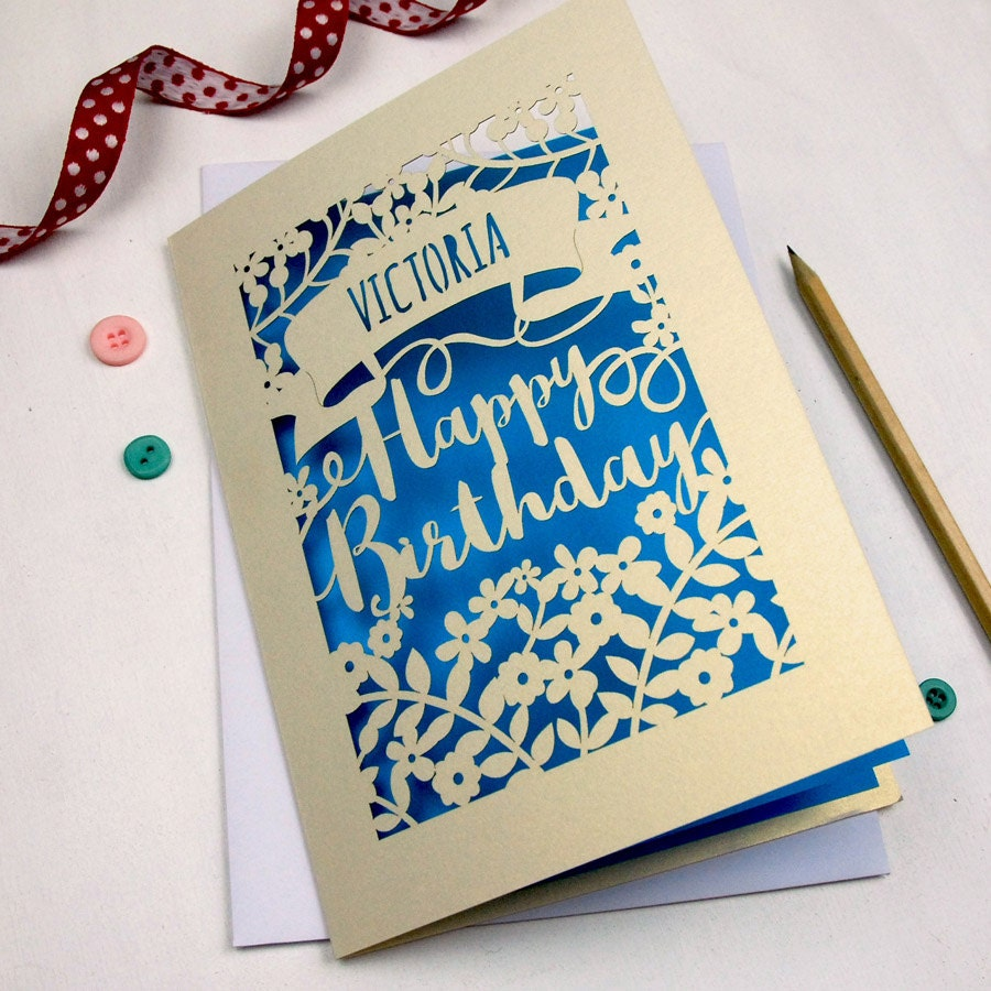 Personalised papercut calligraphy birthday card