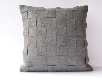 Dark Grey Felt Cushion Cover , Dark Gray Felt Pillow , Decorative Pillow, Accent Throw Pillow