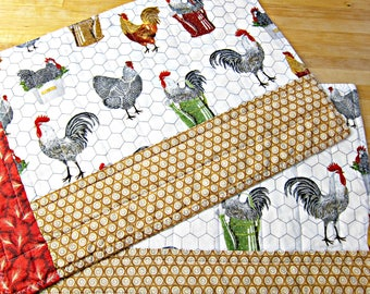 Set of 2 Placemats, Quilted Placemats, Rooster Placemats, Animal Print, Fabric Placemats, Farmhouse Decor, Roosters, Chicken Decor