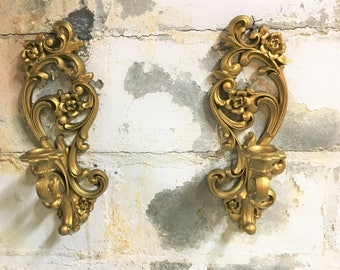 Hollywood Regency Sconce Pair Candle Holders Syroco Homco Mid-century