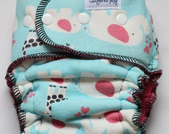 elephants-serged *Petite fit* hybrid diaper