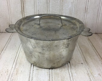 Vintage French Metal Covered Casserole with Heart Handles