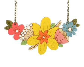 Daffodil bouquet necklace ~ hand painted laser cut flower necklace