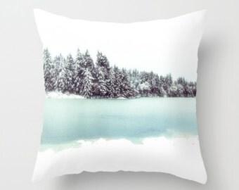 Pillow Cover, Frozen Lake, Turquoise, Trees, White, Decorative Throw Pillow Cover, fPOE, 16x16, 18x18, 20x20