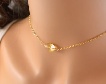 Real Citrine Choker, Gemstone Necklace, Simple, Minimalist, Dainty, Gold Filled Chain, November Birthstone Jewelry, Free Shipping