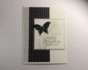 Sending Wishes - handmade stamped card, butterfly, black & white