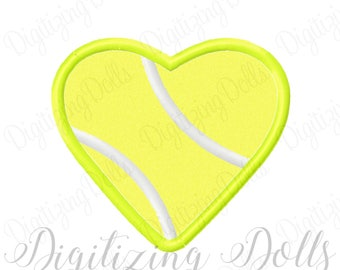 Tennis Ball Heart Applique Machine Embroidery Design 3x3 4x4 5x7 6x10 court sports INSTANT DOWNLOAD