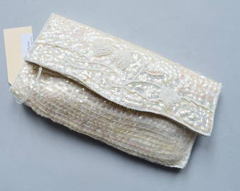 1960s White Sequined Clutch