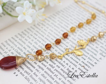 Bohemian Twig Branch Necklace Carnelian Necklace Rustic Gemstone Necklace Fall Autumn Necklace Asymmetrical Jewelry Fall Accessories - Amber