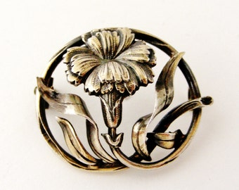 French antique art nouveau silver plated carnation brooch