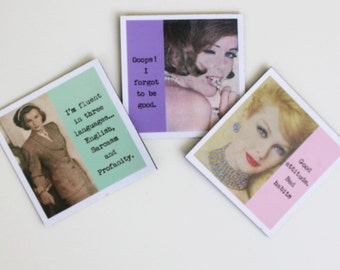 Funny Magnets Set of Three Sassy Sayings For Bad Girls Nasty Women