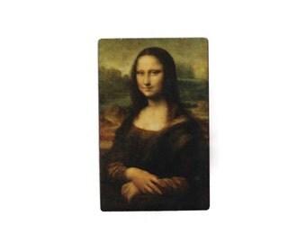Mona Lisa Painting Wooden Brooch Pin