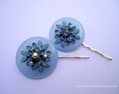 Vintage earrings hair grips - Light baby azure blue ornate flowers leaves filigree rhinestones jeweled embellish decorative hair accessories