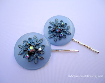 Vintage earrings hair grips - Light baby azure blue ornate flowers leaves filigree rhinestones jeweled embellish decorative hair accessories