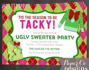 Argyle Ugly Sweater Christmas/Holiday Party Invite - Digital File ONLY