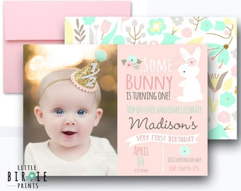 BUNNY BIRTHDAY INVITATION Some Bunny Is Turning One invitation Pastel Bunny First Birthday Party Invitation - Bunny birthday invitation pink