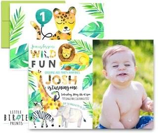 JUNGLE Birthday Party Invitation WILD ANIMAL birthday party invitation Wild ONe birthday invitation Safari Birthday invitation Lion Elephant