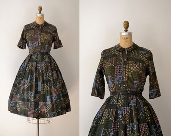 1950s Batik Dress / 50s Shirtwaist Dress Set