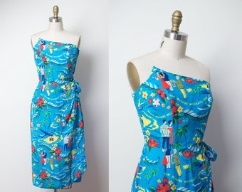 1950s Hawaiian Dress / 50s Surfriders Novelty Print Sarong Dress