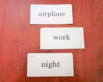 Vintage Flash Cards Garland, Work Night Airplane, Mid Century Ephemera, 1950's Retro