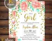 Gold Confetti Baby Shower Invitation - Girl Baby Shower Invitations - Coral, Mint & Gold Floral invite